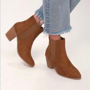 Lulu's Shoes - Teddy Tan Suede Ankle Booties